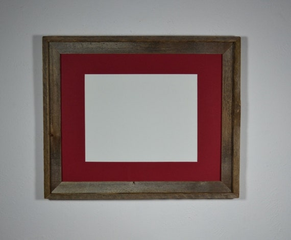Recycled barn wood photo frame 16x20 with red mat for 11x14 photo's or prints beautiful natural patina