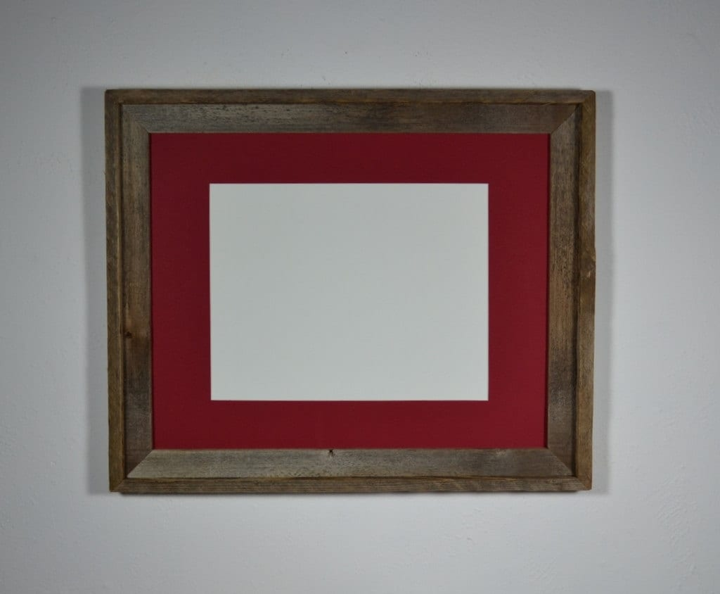 Recycled Barn Wood Photo Frame 16x20 With Red Mat By