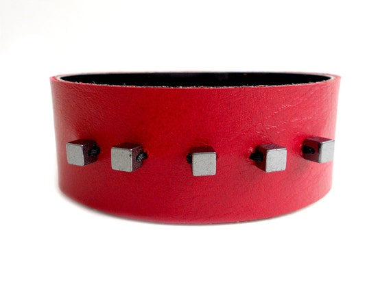 Red Hot Beaded Leather Cuff Bracelet with Hemetite Beads