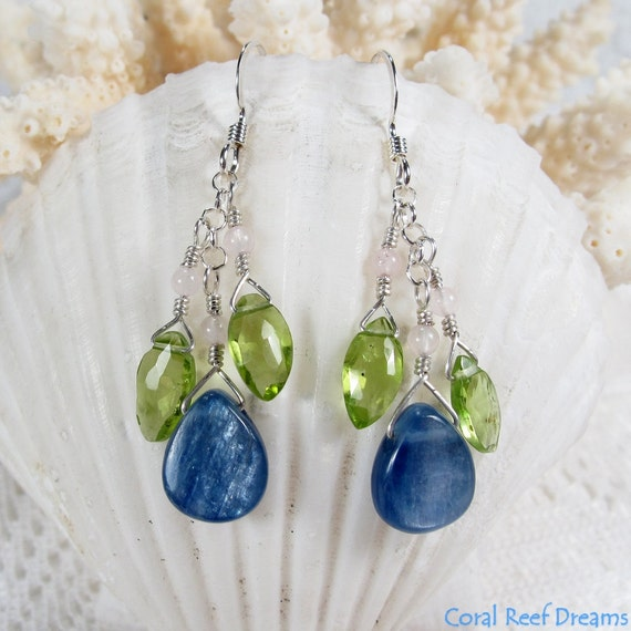 Blue Kyanite Earrings - Kyanite Drops, Peridot Marquise and Rose Quartz Rounds, Sterling Silver, January, August Birthstones (E0381)