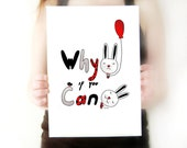 Typographical Print, Optimistic illustration, children decor, positive quote, nursery room. 8x11 inches  - Why be sad if you can be happy -