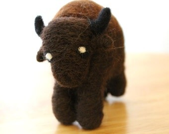 Needle Felted Buffalo - Animal Soft Sculpture Felt Buffalo Figurine - Cute Buffalo - Made to Order - Felted American Bison Art Doll