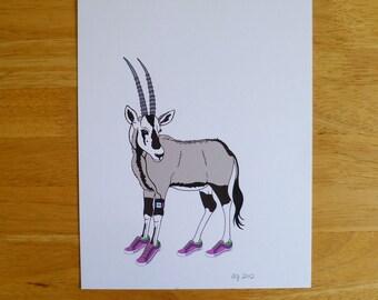 Animals on the Run Illustration - Ryxie -  8x10 Archival Digital Art Print