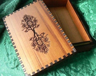 5 7/8 x 3 7/8 Tree of Life Tarot Deck Storage Stash Box 5 Depths