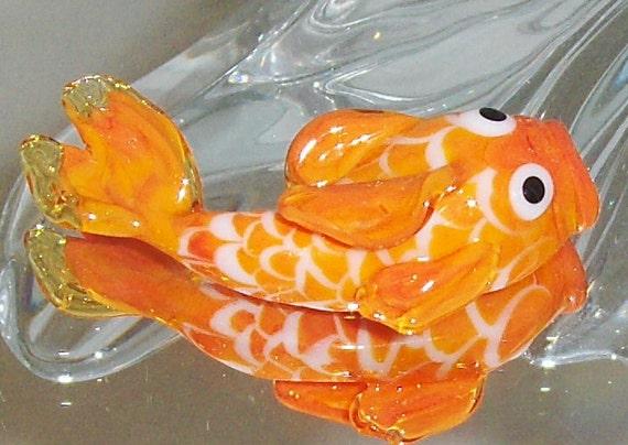 Japanese koi fish lampwork focal bead orange and white koi for Koi fish beads