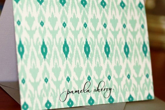 mint and emerald ikat personalized stationery / folded notecards - set (10)