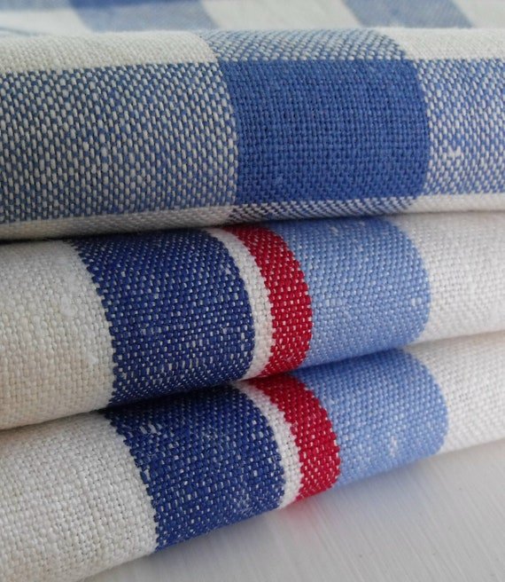Three vintage kitchen towels, never used, blue and white checks