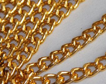 25 ft of Aluminum Curb open link chain  7X10mm - Gold color