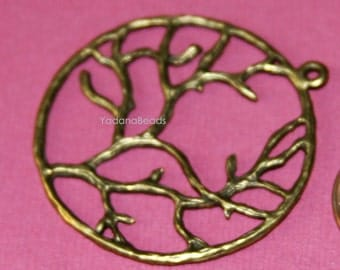 6 pcs of Antique Brass Tree of life pendant 40mm