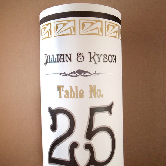 Art deco luminary decorations 8 5 inch table number for Number 5 decorations