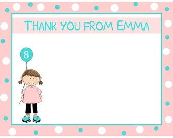 20 Personalized Thank You Cards  ROLLER SKATING GIRL