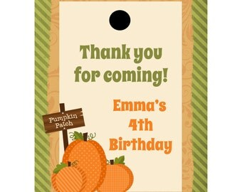 24 Personalized Birthday Favor Tags - Pumpkin Patch