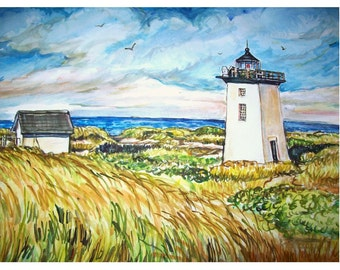 WOOD END Lighthouse (Cape Cod) - 11x15 original painting seascape  watercolor OOAK, Seascape, Cape Cod, Light, Lighthouse, Ocean, Sea, Blue
