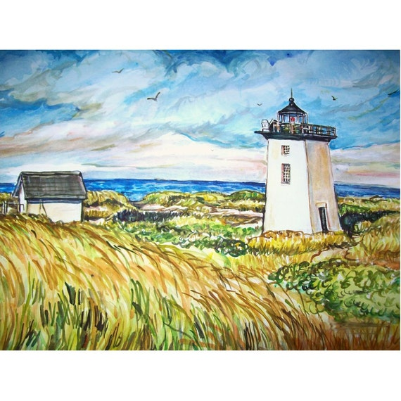 WOOD END Lighthouse Cape Cod 11x15 Original Painting