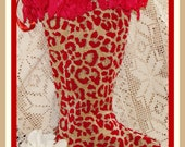 Cottage Chic Red Leopard Floral Handmade Christmas Stocking