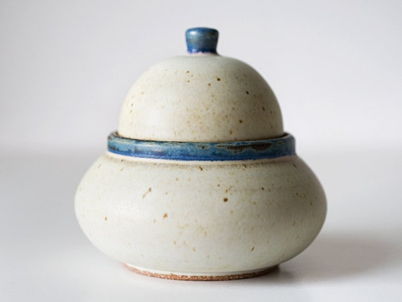 White Trinket Jar with Blue Detailing, Stoneware