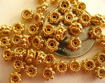 10 Bali Sterling Silver Vermeil Daisy Rope Spacer Beads 4mm