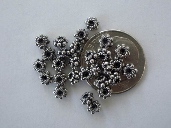 10 Bali Sterling Silver Daisy Rope Spacer Beads 4mm
