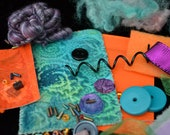 Mixed Media Art Quilt  Kit -- Purple, Teal and Orange