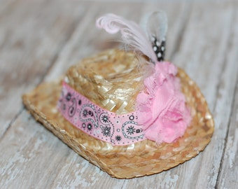Cowboy Mini Top Hat Fascinator straw cowgirl photo prop headpiece pageant pink bandana