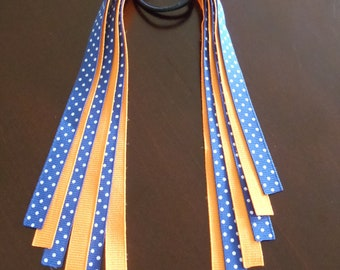 35% OFF--Small Pony O--Pony Streamers--Team or School Colors--Orange and Blue--Generals