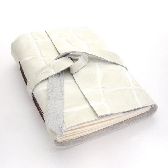 Embossed Cream Leather Journal and Sketchbook with Alligator Print