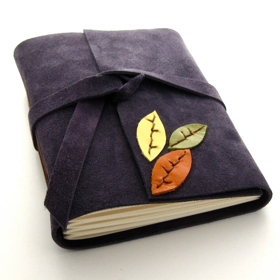 Handmade Autumn Leather Journal and Sketchbook in Purple Suede