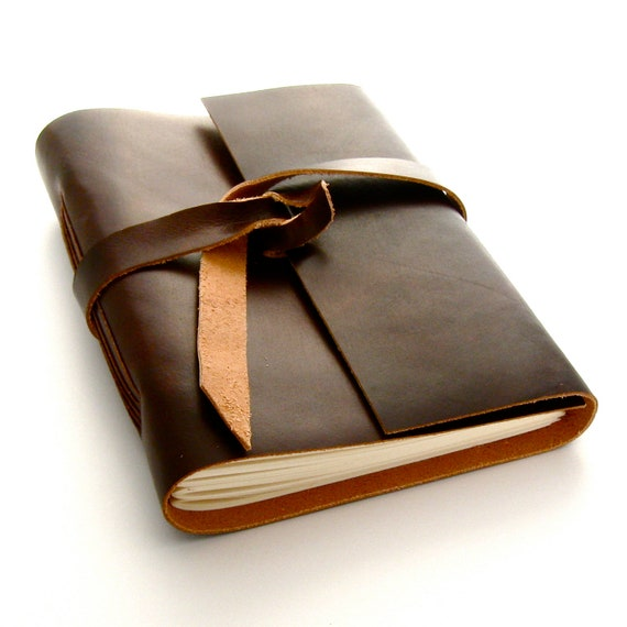 Brown Leather Journal and Sketchbook, A Handmade Leather Journal for Autumn