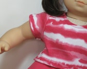 Bitty or Twins Doll Clothes - Pink/White Striped Tee and Pink Full Skirt