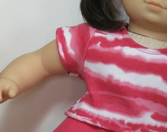 Bitty or Twin Doll Clothes - Pink/White Striped Tee and Pink Full Skirt