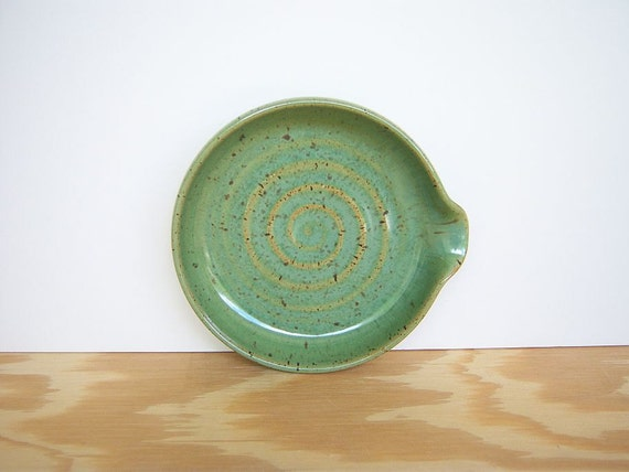 reserved for Jill - Stoneware Spoon Rest in Spring Green Glaze