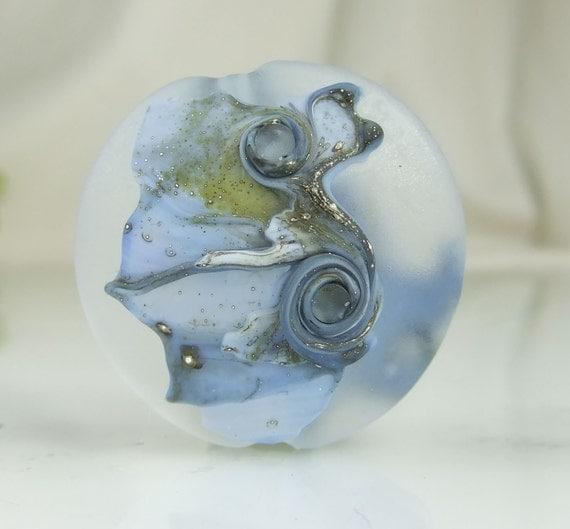 Etched Blue Galaxy Sky Lampwork Lentil Focal Bead