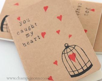 you caught my heart valentines moleskine