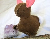 Embroidered Bunny Made from Wool Felt