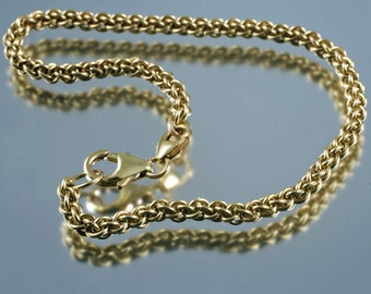 dominica - chain maille bracelet for silver core or big hole beads - yellow gold filled
