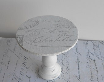 Distressed White French Chic French Post in Grey mini wood  individual cupcake stand pedestal