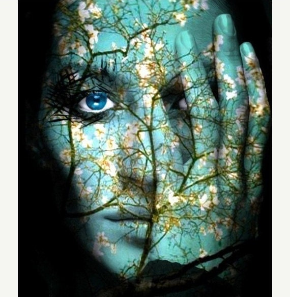 Home Decor, Wall Art,  Woman Portrait,   Spirit of Spring Woodlands, Collage, Photomontage, Photograph,
