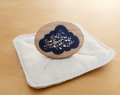 Brooch -  Handpainted Galaxy Cloud Bamboo Wooden Brooch