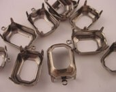 12 Silver Ox Octagon Prong Settings with Loop 18x13 open back