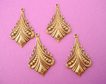 6 brass ox art deco embossed dangle charms 26mm