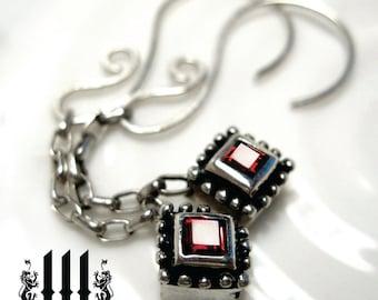 Garnet Earrings Royal Jeweled Gothic Wedding January Birthstone