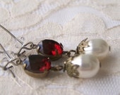 Vintage Victorian Style Earrings, antiqued dangle, jewel and pearl