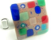 Lavender Blue Teal Pink Murrini Fused Glass Night Light