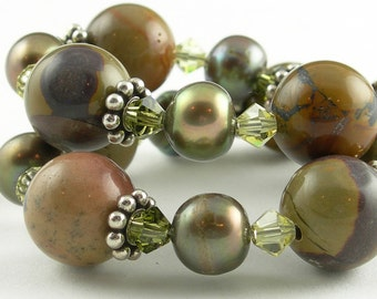 Olive Green Rust Burnt Orange Beaded Gemstone Bracelet with Pearls Crystals and Sterling Silver