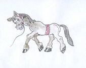 Watercolor painting of a horse, brown, cartoon