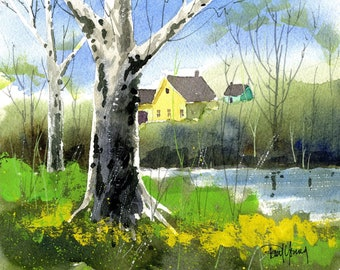 Sycamores-Print from an original watercolor painting