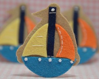 Set of 6pcs handmade felt boat--pecan glow/vivid turquoise (FT944)