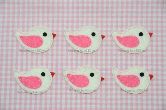 Set of 6pcs handmade felt bird--ivory (FT869)
