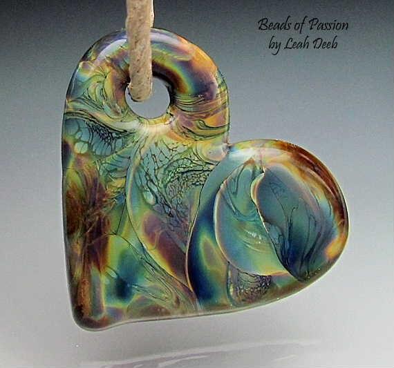 Handmade Glass Heart Focal Bead Lampwork - Off Mandrel Heart Pendant