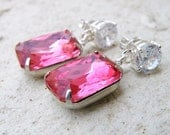 Fuchsia Hot Pink Earrings Foiled Octagon Stone Rhinestone Silver Stud BE31F